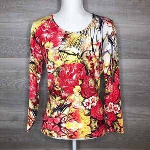 Colorful Peck & Peck Long Sleeve Top Size Small